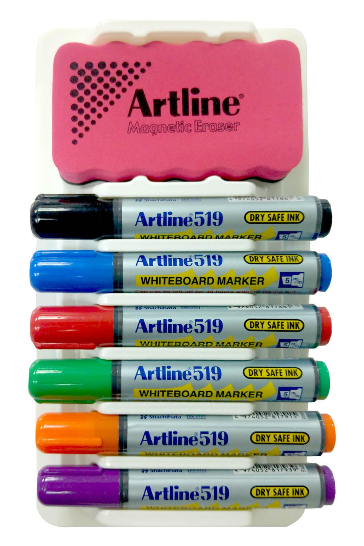 אורנייזר 6 טושים מחיקים ומחק Artline