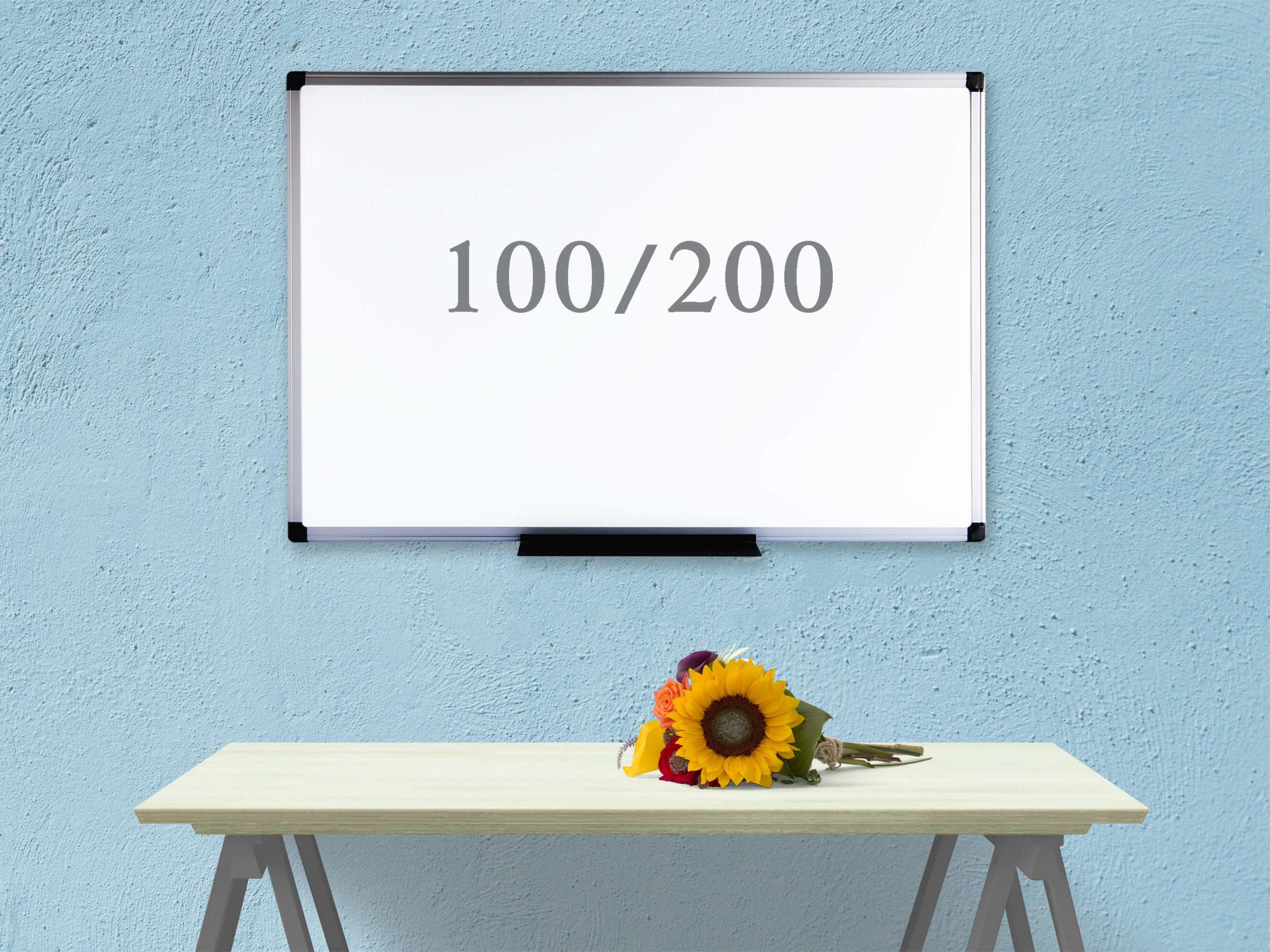 """לוח מחיק לבן מגנטי 100x200 ס""""מ Bclear"""