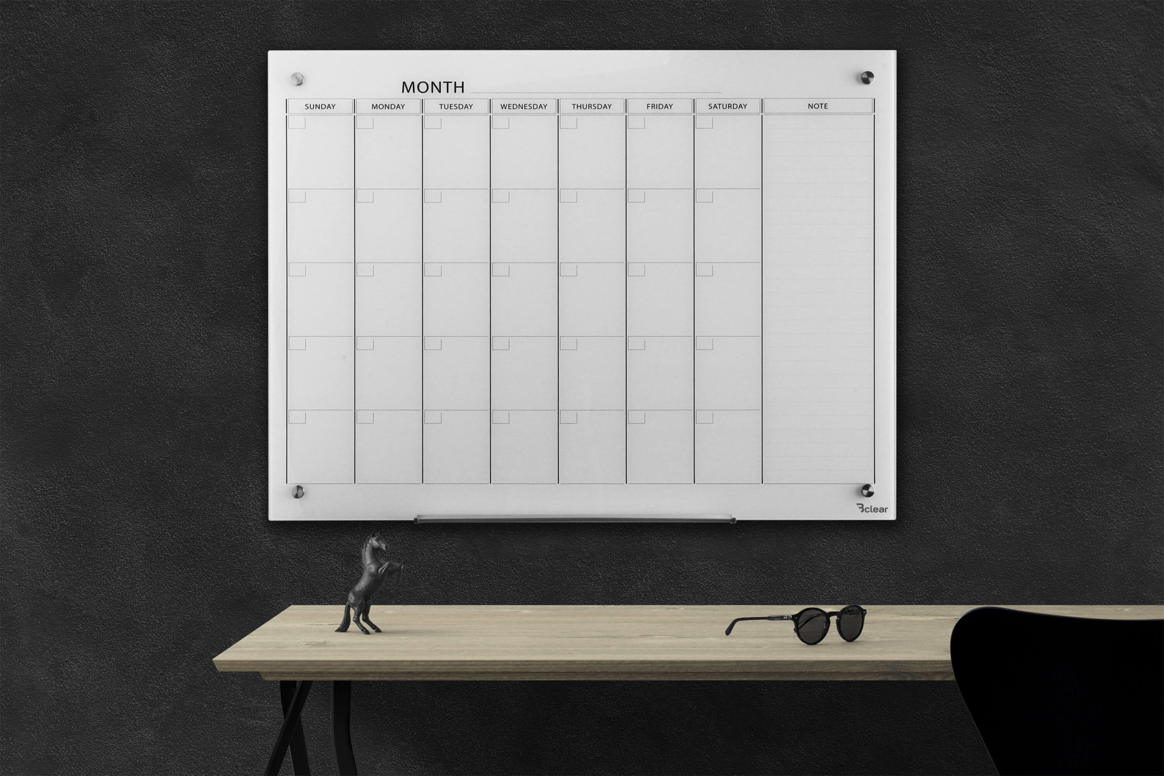 לוח תכנון חודשי לבן זכוכית Bclear