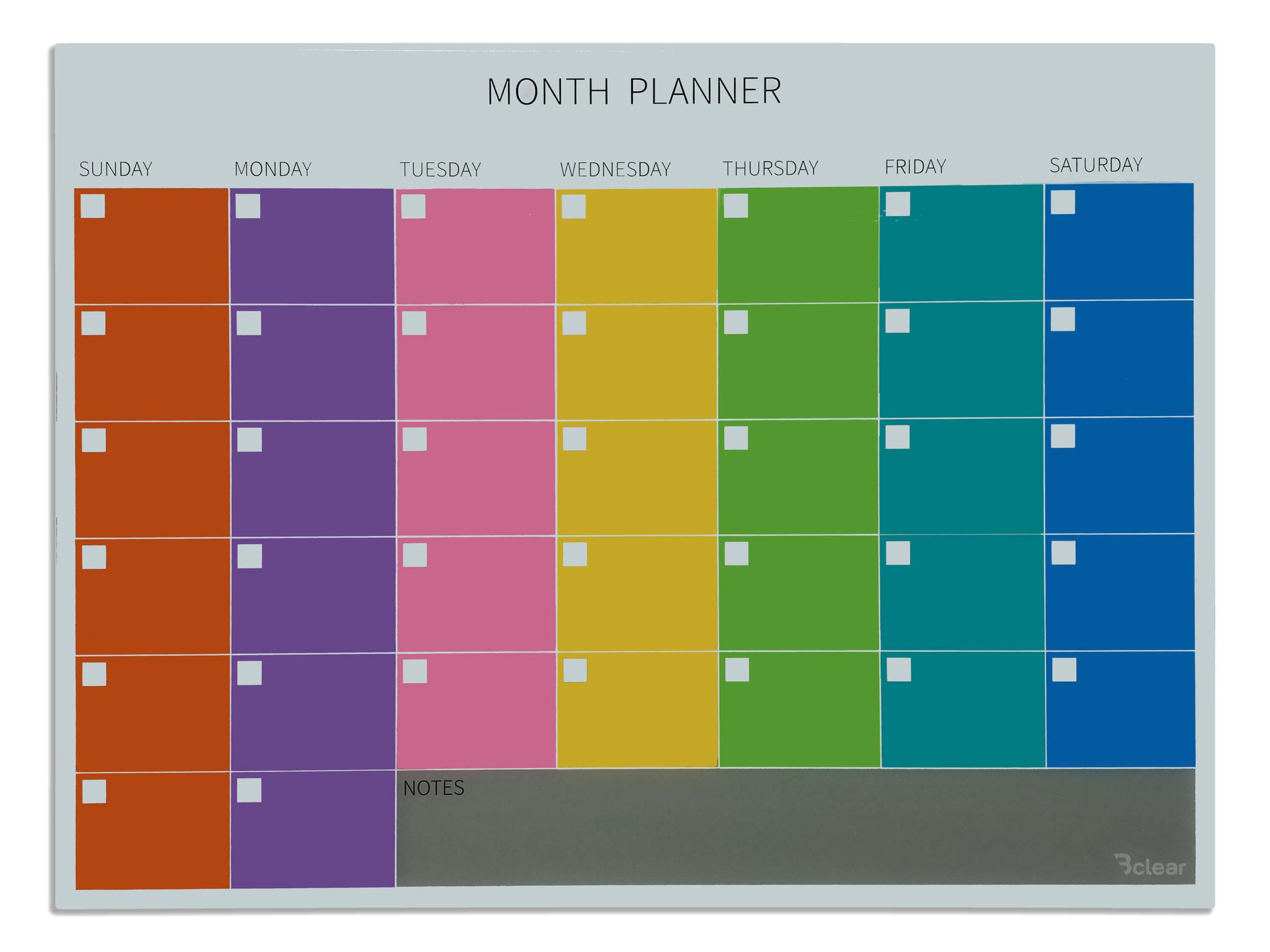 לוח תכנון חודשי מחיק זכוכית צבעוני Bclear