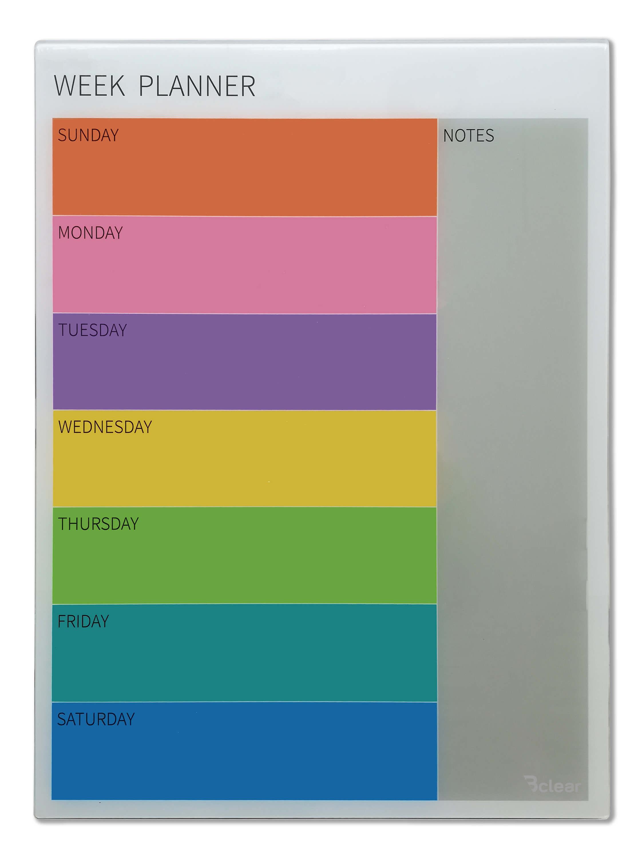 לוח תכנון שבועי מחיק מזכוכית מגנטי Bclear