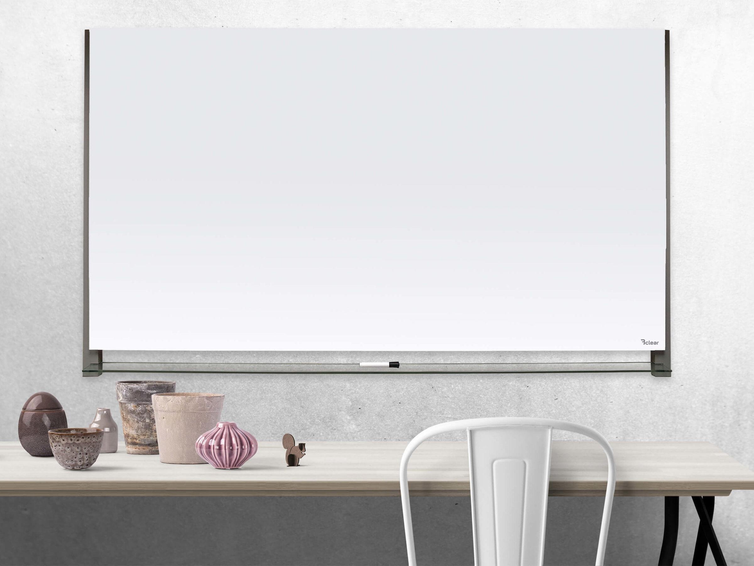 לוח זכוכית מחיק מעוצב מגנטי לבן התקנה נסתרת Bclear